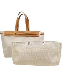Hermès - Pre-owned Vintage Herbag White Cotton Handbag - Lyst