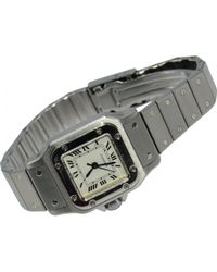 2ab4fc27499 Cartier - Pre-owned Santos Galbée Silver Steel Watches - Lyst