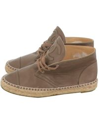 Chanel - Brown Leather Espadrilles - Lyst