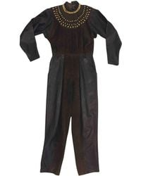 Dior - Pre-owned Vintage Brown Leather Jumpsuits - Lyst