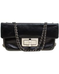 741c958ba2db Chanel - Vintage Wallet On Chain Black Leather Handbag - Lyst