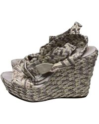 Hermès - Pre-owned Grey Leather Sandals - Lyst