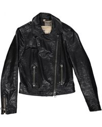 Burberry - Black Leather Leather Jacket - Lyst