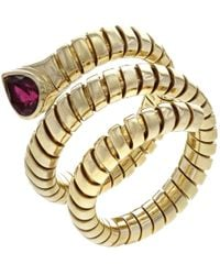 BVLGARI - Pre-owned Vintage Serpenti Red Yellow Gold Ring - Lyst