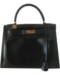 Hermès - Vintage Kelly 28 Black Leather Handbag - Lyst