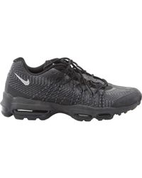 info for 757f2 91187 Nike - Air Max 95 Black Cloth Trainers - Lyst