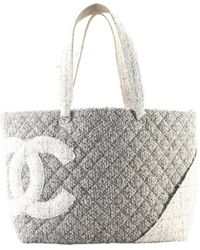 e8c719710 Chanel Deauville Line Tote Bag Tweed Gray A67001 in Gray - Lyst