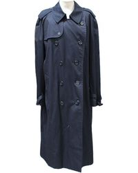 Burberry - Pre-owned Vintage Blue Cotton Trench Coat - Lyst