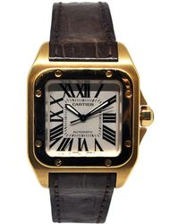 Cartier - Pre-owned Santos 100 Yellow Gold Watch - Lyst