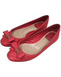 Dior - Red Leather Ballet Flats - Lyst