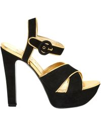 7c19b990f Lyst - Chanel Cloth Sandals in Black