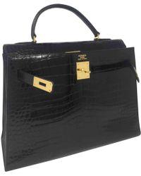 Hermès - Vintage Kelly 32 Black Crocodile Handbag - Lyst