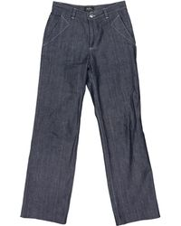 A.P.C. - Pre-owned Blue Cotton Jeans - Lyst