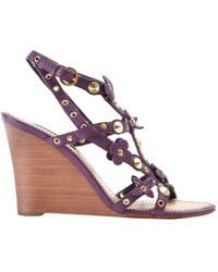 233b55f59cb Louis Vuitton - Purple Leather Sandals - Lyst