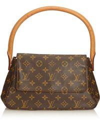 Louis Vuitton - Pre-owned Vintage Looping Brown Cloth Handbags - Lyst