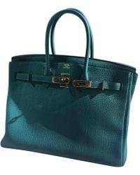 Hermès - Birkin 35 Turquoise Leather Handbag - Lyst