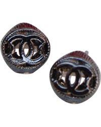 Chanel - Grey Metal Earrings - Lyst