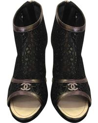 Chanel - Leather Open Toe Boots - Lyst