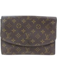 Louis Vuitton - Brown Suede Clutch Bag - Lyst