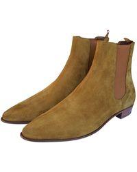 Céline Stivali. Stivaletti in scamosciato cammello Carmargue boots - Multicolore