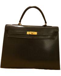 Hermès - Vintage Kelly 35 Navy Leather Handbag - Lyst