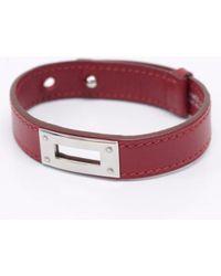 Hermès - Kelly 32 Burgundy Leather Bracelets - Lyst