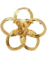 Lyst - Chanel Broche Vintage En Metal Dore in Metallic cf3df0ac900