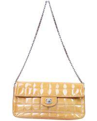 0ec5475c8fc0 Chanel - Vintage East West Chocolate Bar Orange Patent Leather Handbag -  Lyst
