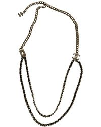 Chanel - Gold Metal Long Necklace - Lyst