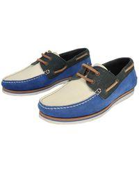 Lanvin Ecru Leather Flats - Blue
