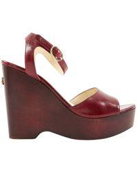 Chanel - Burgundy Leather Sandals - Lyst