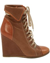 Chloé - Leather Lace Up Boots - Lyst