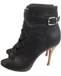 Gianvito Rossi - Leather Open Toe Boots - Lyst
