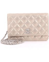4a2a8303a5b4 Chanel Wallet On Chain Leather Crossbody Bag in Blue - Lyst