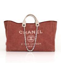 Chanel - Deauville Pink Cloth Handbag - Lyst