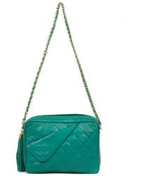 e44eee3504c4 Chanel Pre-owned Boy Green Leather Handbags in Green - Lyst