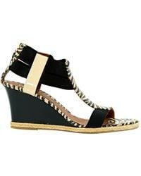 Fendi Multicolor Leather Sandals - Black