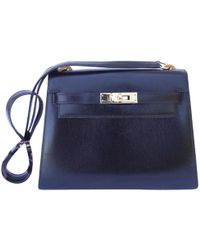 898fe744a0 Hermès - Pre-owned Vintage Kelly Mini Black Leather Handbags - Lyst