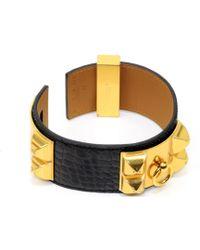 Hermès - Collier De Chien Black Exotic Leather Bracelets - Lyst