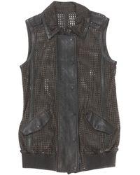 Hakaan - Brown Leather Knitwear - Lyst