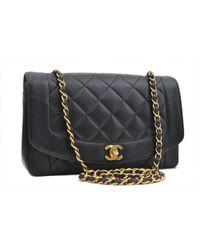 8ba5aed1df0b Chanel - Vintage Diana Black Leather Handbag - Lyst