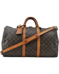 Louis Vuitton - Vintage Keepall Brown Cloth Travel Bag - Lyst