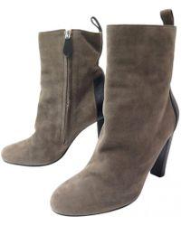 Hermès - Brown Velvet Ankle Boots - Lyst