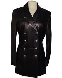 Balmain - Pre-owned Leather Coat - Lyst