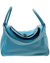 Hermès - Pre-owned Lindy Blue Leather Handbags - Lyst