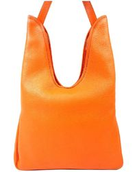 502f116bc8 Lyst - Hermès Orange Leather Handbag in Orange