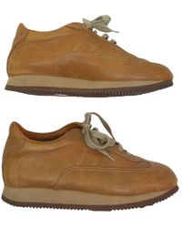 Hermès - Camel Leather Trainers - Lyst