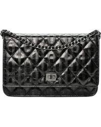 6d040ffd25fc23 Lyst - Chanel Wallet On Chain Patent Leather Crossbody Bag in Black