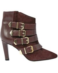 The Kooples - Burgundy Leather Ankle Boots - Lyst