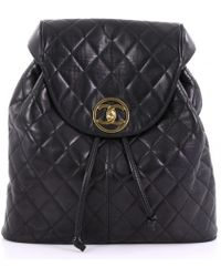 Lyst - Chanel Pre-owned Leather Backpack in Black 1a840fae7131c